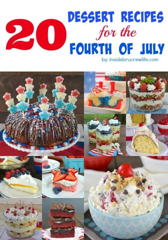 20 Fourth of July Desserts - a fun round up of desserts that will be a hit at any Fourth of July picnics or barbecues