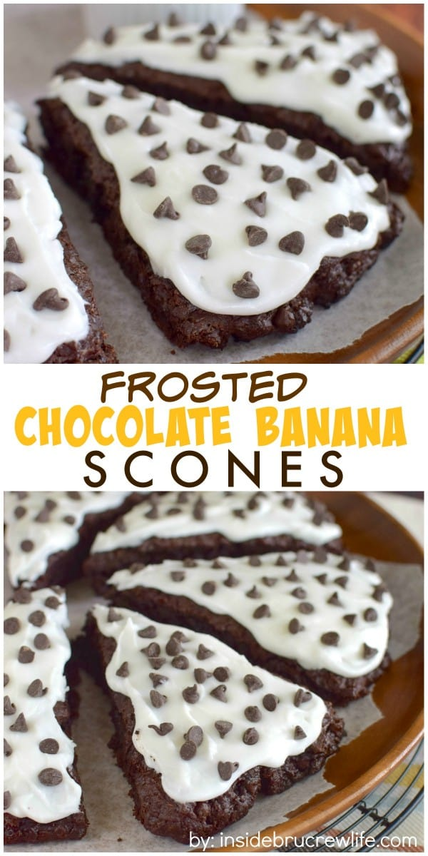 Chocolate chips and frosting make these banana scones an amazing breakfast to start out the day with!