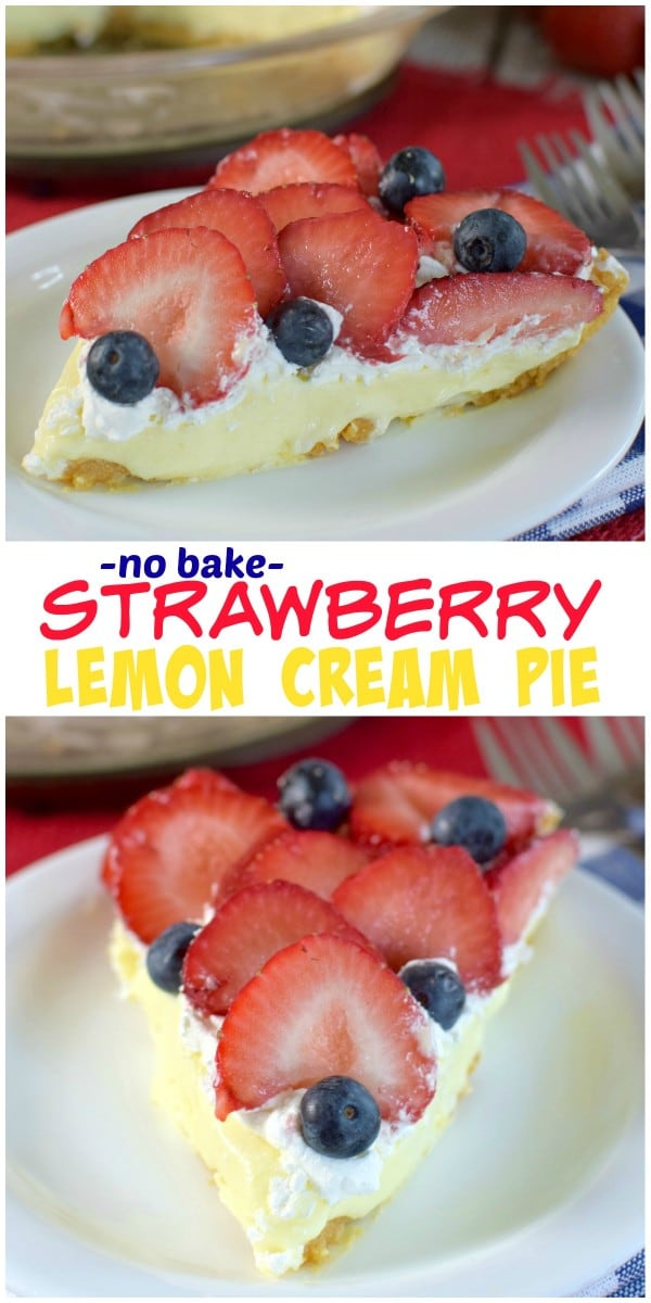 No Bake Strawberry Lemon Cream Pie - layers of cookie crust, lemon ...