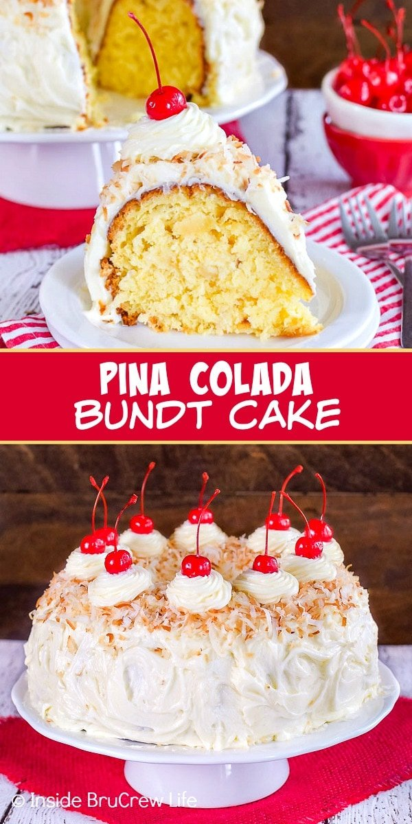 Two pictures of pina colada bundt cake collaged together with a red text box