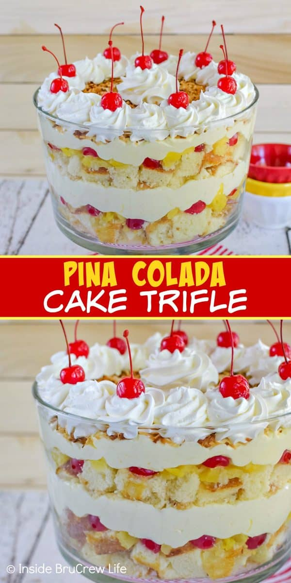 Pina Colada Cake Trifle - this tropical cake trifle has layers of pineapple cake, no bake coconut cheesecake, and fruit. Make this easy recipe for summer parties and watch everyone dig in! #pinacolada #coconut #trifle #nobakecheesecake #cakemix #caketrifle
