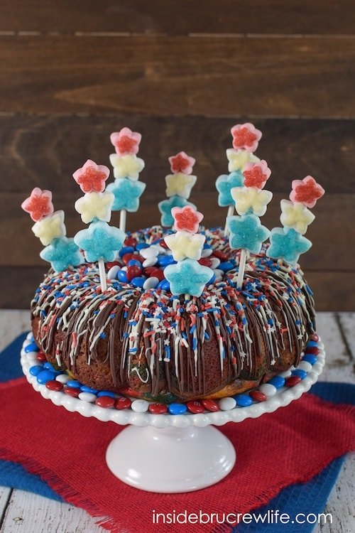 Red, white, and blue swirls inside make this such a fun cake to cut into.