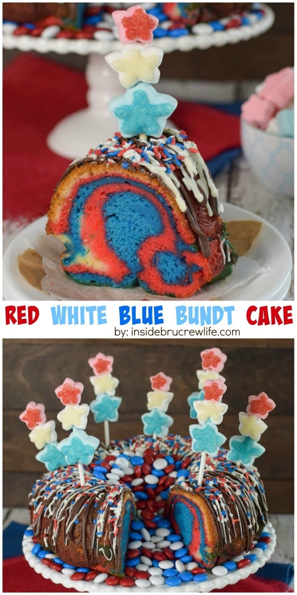Red, white, and blue marshmallows, sprinkles, and swirls inside make this a fun cake to serve for the Fourth of July.