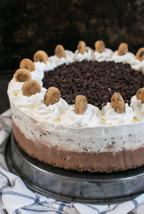 A crunchy cookie crust and cookie toppings makes this chocolate chocolate chip ice cream cake an awesome and easy cake to serve!