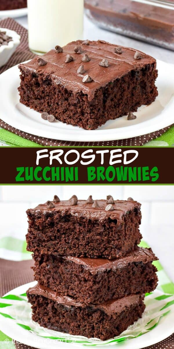 Two pictures of Frosted Zucchini Brownies collaged together with a dark brown text box.