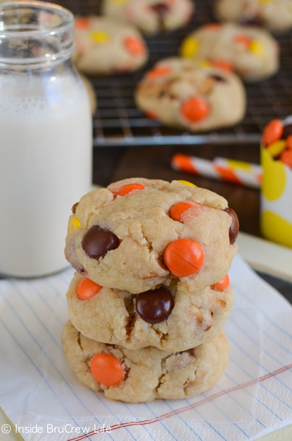 Peanut butter cookies get a blast of fun from extra cookies and Reese's Pieces.