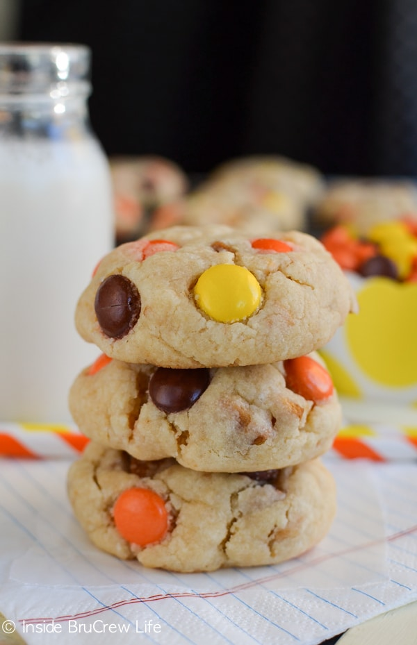 Peanut butter cookies filled with Nutter Butter's and Reese's Pieces are what your cookie jar wants today.