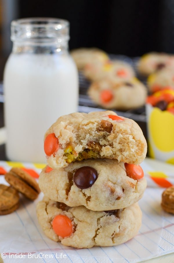 Hiding extra cookies and candies inside peanut butter cookies is always a fun surprise.