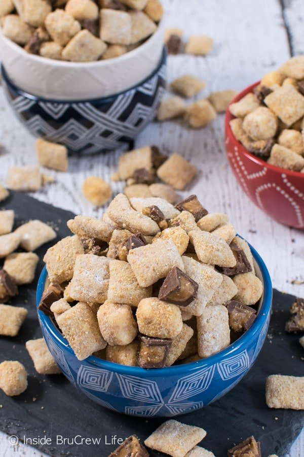 S'mores and peanut butter makes this muddy buddies disappear in a hurry!