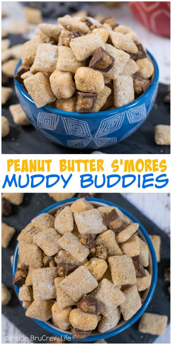 Peanut butter and Reese's add a fun twist to this S'mores Muddy Buddies.