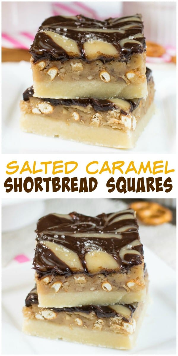 ... add a fun sweet and salty twist to these caramel shortbread squares