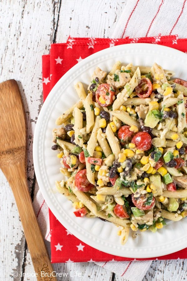 Chicken, pasta, and veggies make an awesome summer salad!
