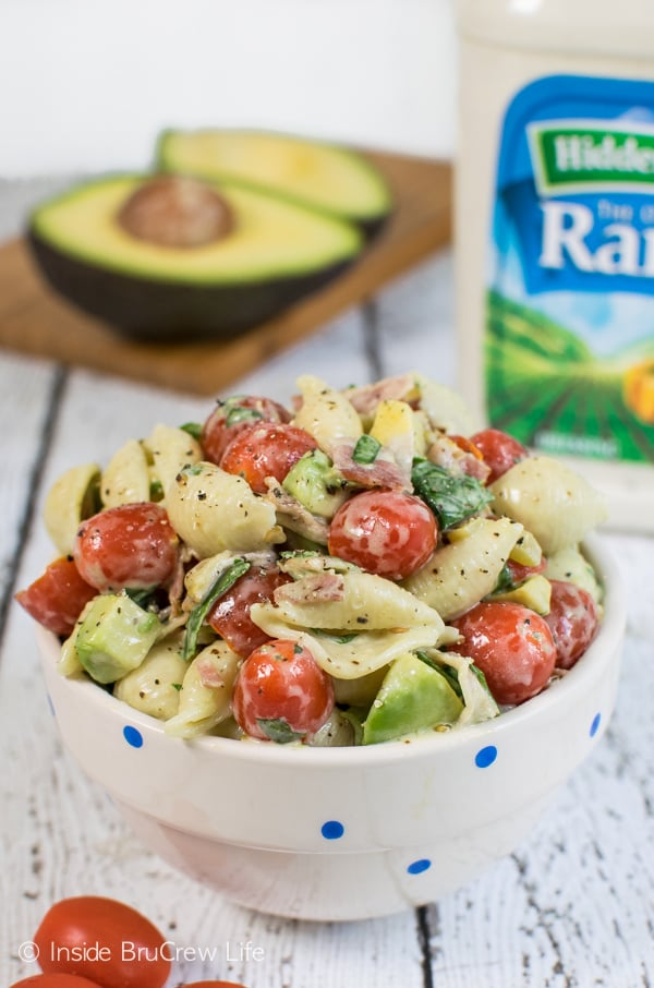 This easy pasta salad gets a spicy twist from the green chilies and ranch dressing.