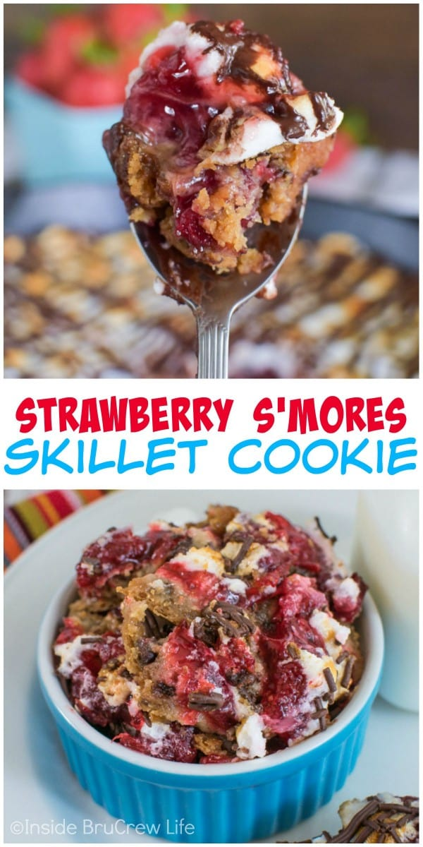 Grab a spoon and get ready to dig into the strawberry s'mores goodness in this skillet cookie!