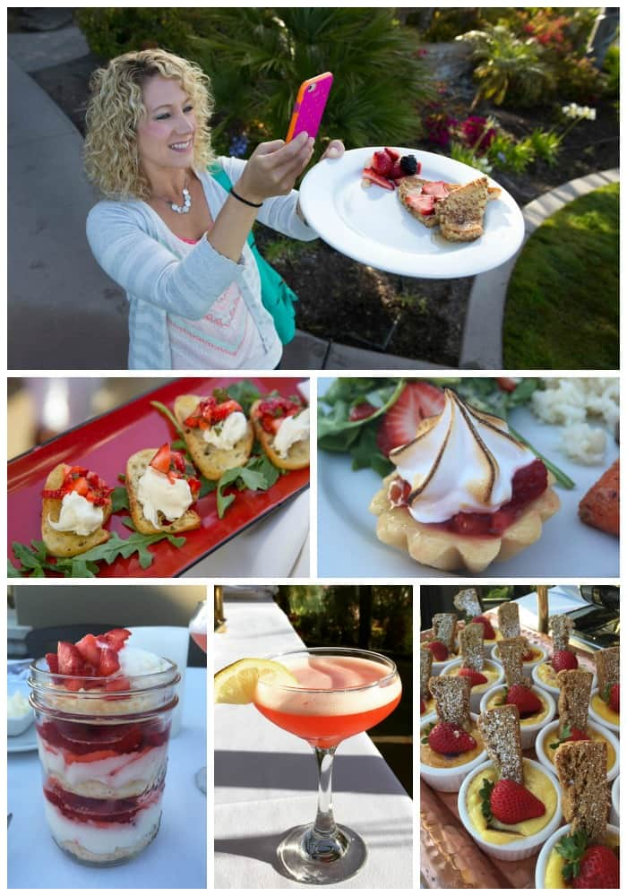 collage of pictures of the strawberry food served at the 12 Reasons to love CA Strawberries Tour