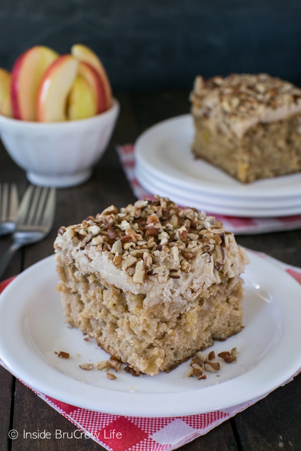 Pecans and apples give this cake a fun flavor and texture. It is the perfect fall cake.
