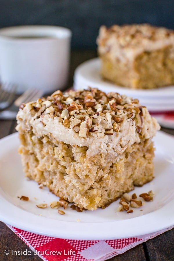 Apple Praline Cake - this soft fall cake is loaded with fresh apples and topped with sweet praline frosting and pecans. Make this easy recipe for fall parties or dinners and watch everyone devour it! #cake #apple #pralinefrosting #fall #recipe