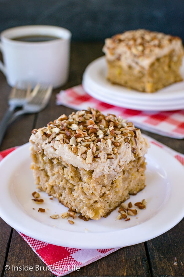 Apple Praline Cake - a sweet praline frosting and lots of pecans make this homemade apple cake taste amazing! Make this easy recipe for fall parties or dinners! #cake #apple #pralinefrosting #fall #recipe