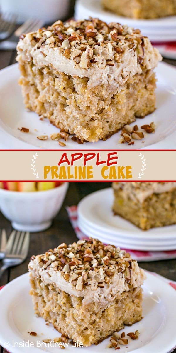 Two pictures of apple praline cake collaged together with a tan text box