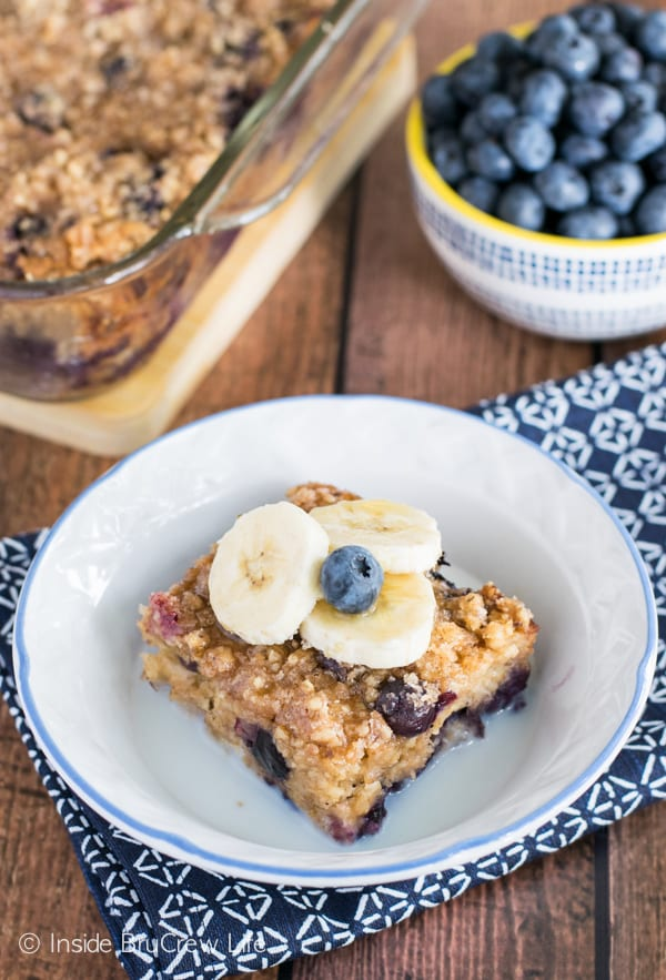 Blueberry and banana add a fun twist to this easy baked oatmeal. Perfect breakfast food!