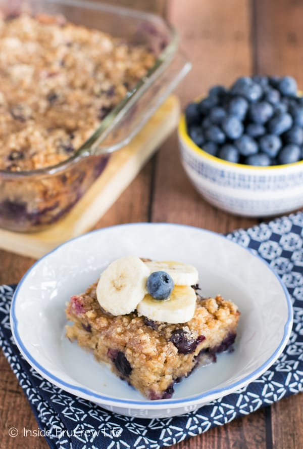 Baked oatmeal gets a delicious twist from banana and blueberries.