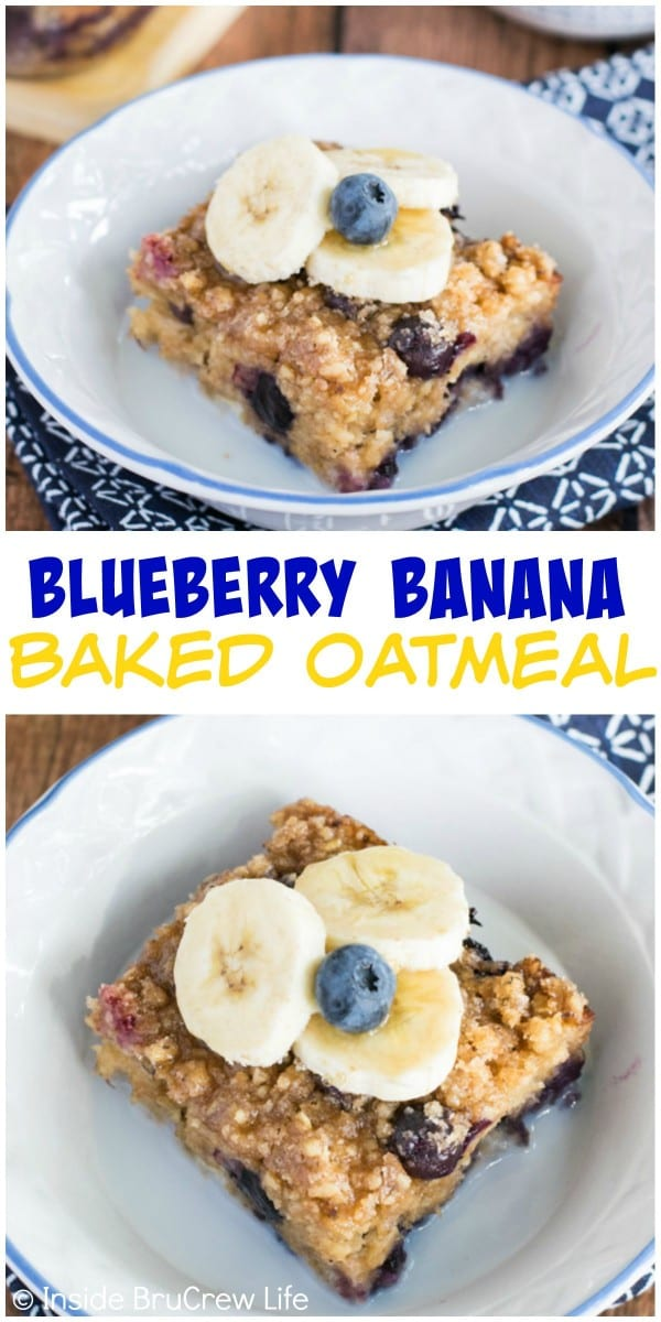 Fresh blueberries and bananas add a delicious fruit flavor this easy baked oatmeal.