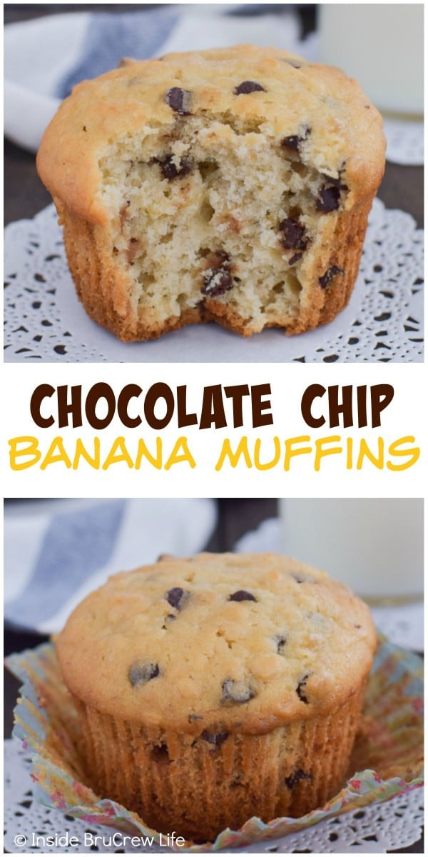 Adding oats and chocolate chips makes these banana muffins a favorite breakfast treat.