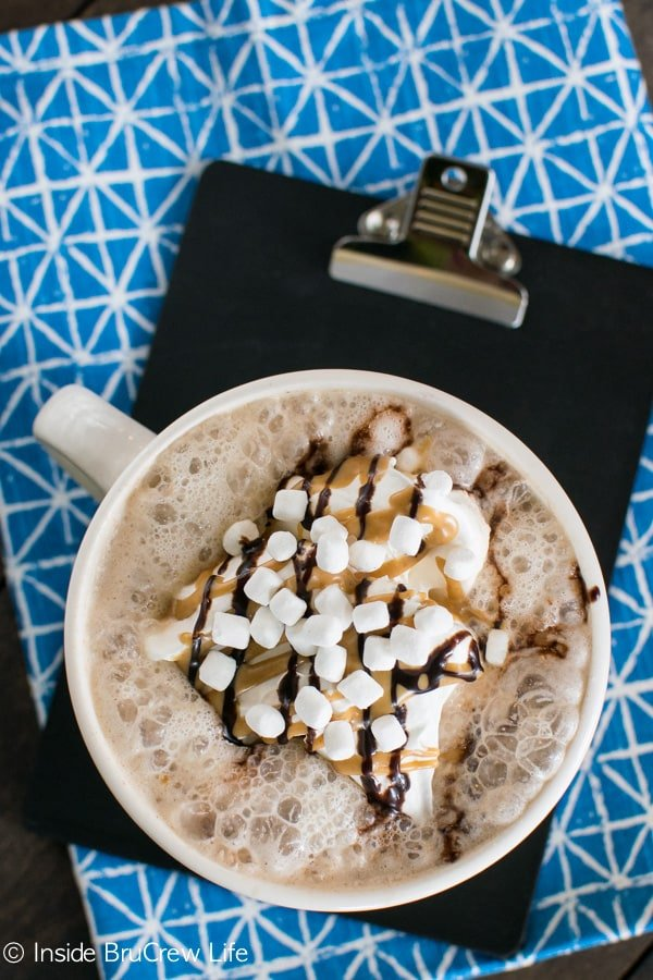 Making a homemade latte takes minutes. This chocolate, peanut butter, and marshmallow flavored one is worth the wait!
