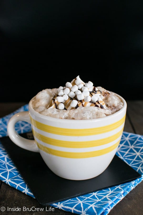 Chocolate, peanut butter, and marshmallow give this fun Rocky Road Latte a sweet twist.