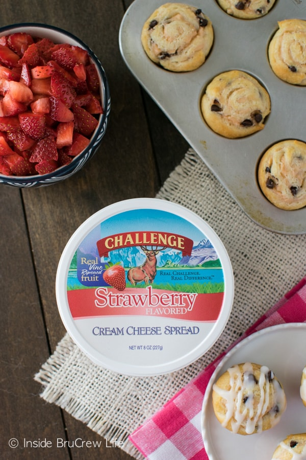 Adding strawberry cream cheese and chocolate chips to these easy rolls makes a great breakfast.