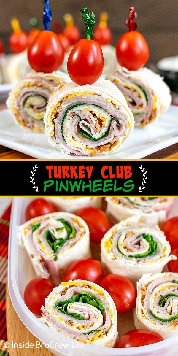 Two pictures of Turkey Club Pinwheels collaged together with a black text box