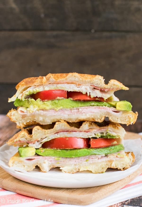 This turkey club sandwich gets a fun twist when the bread is placed in the waffle iron!