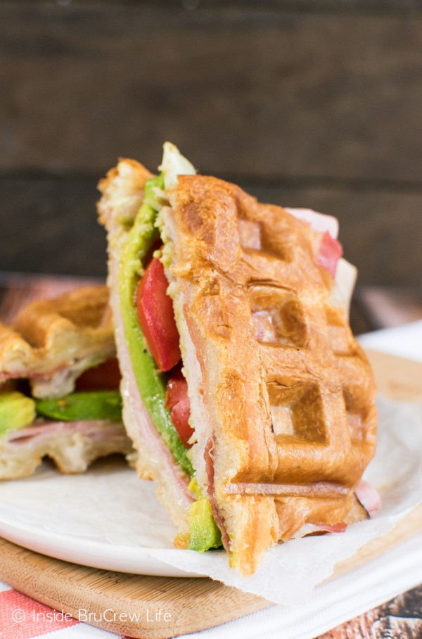 This waffle sandwich has layers of melty cheese, ham, and turkey and your choice of veggies. It is so fun to make and eat!