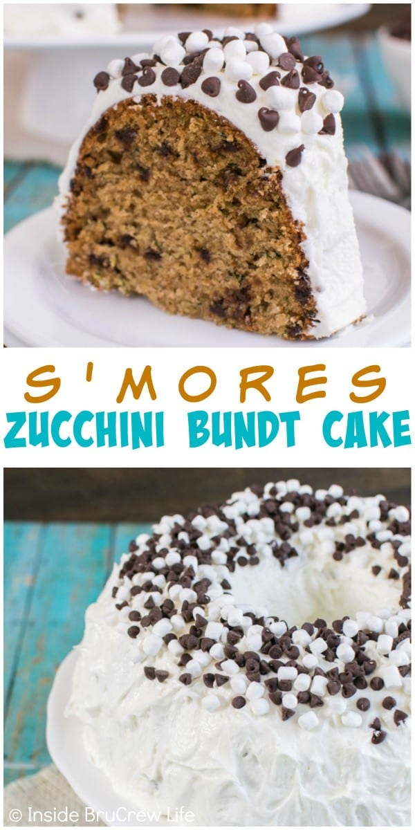 Adding graham crackers, marshmallow, and chocolate chips gives this zucchini bundt cake a fun s'mores twist!
