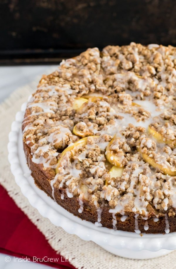 This apple cake has a crumble topping and glaze. It is perfect for adding to your fall baking list.