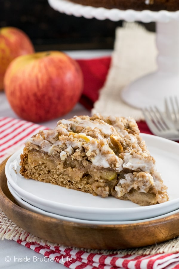 Adding a glaze and crumble topping gives this apple cake a fun flair for fall baking.