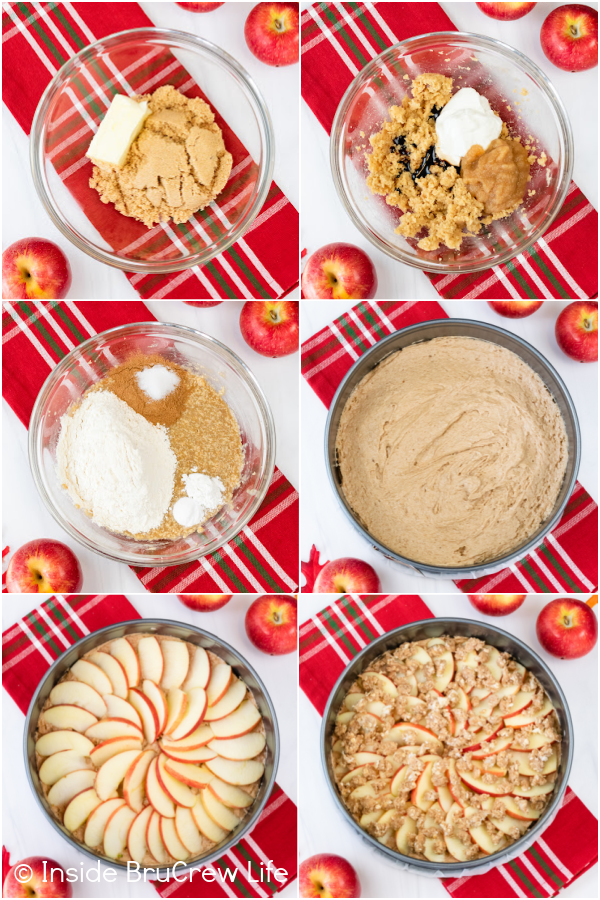 Six photos collaged together showing how to make the batter for an apple coffee cake.