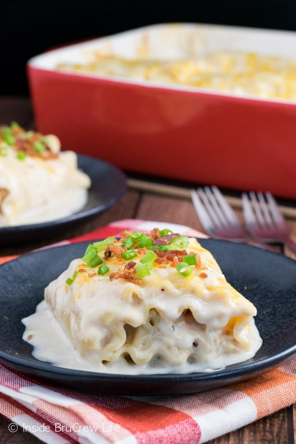 Lasagna noodles rolled up with a chicken bacon, and cheese filling makes a delicious comfort food dish!