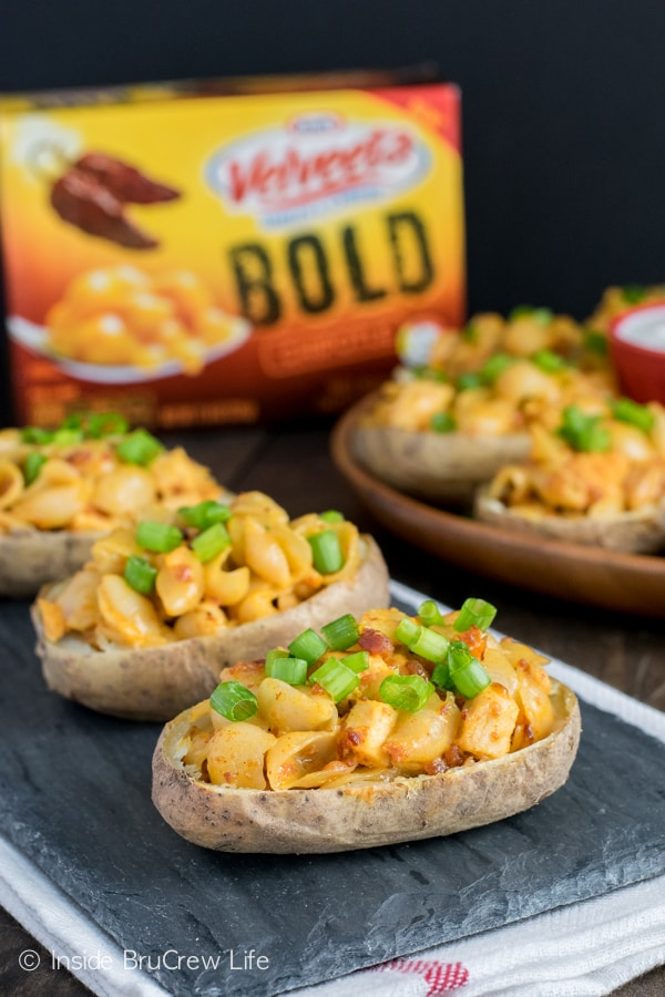 The VELVEETA Chipotle Shells and Cheese make a great filling to potato skins. #liquidgold