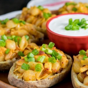 Chipotle Shells and Cheese Potato Skins