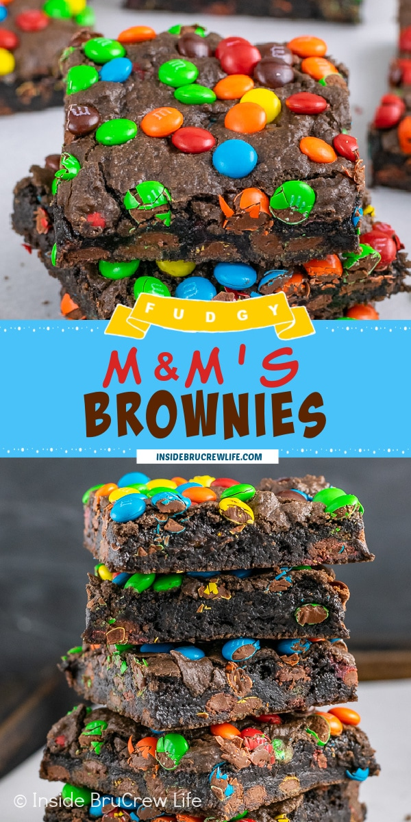 Two pictures of M&M's Brownies collaged together with a blue text box.