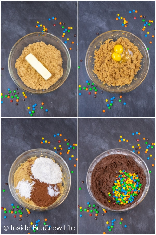 Four pictures collaged together showing how to make fudge brownies with M&M's.
