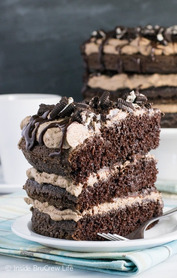 Layers of cake, cookies, chocolate, and coffee cream will make the chocolate lover in your family so happy!