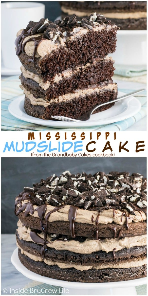Two pictures of Mississippi Mudslide Cake collaged together with a white text box