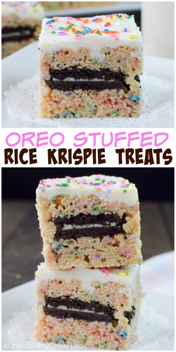 Stuffing sprinkles and Oreo cookies into these rice krispie treats makes them a seriously fun snack!