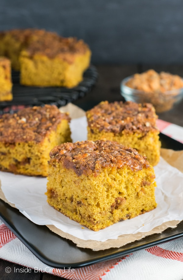 Butterfinger and brown sugar makes an awesome topping for this easy pumpkin cake!