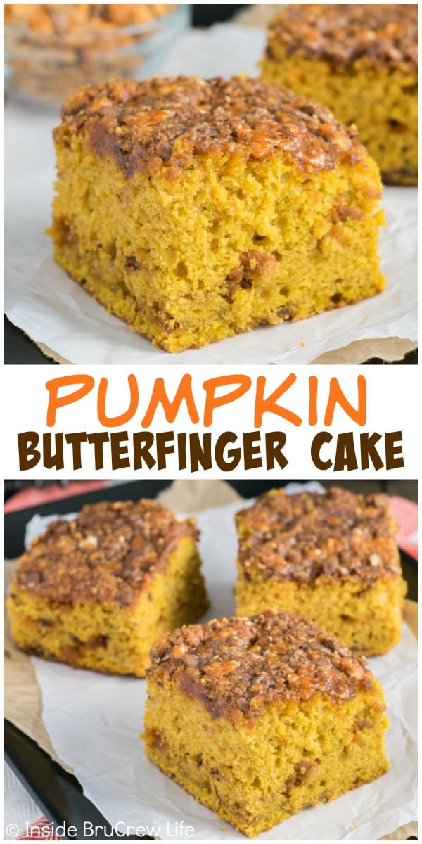 This easy pumpkin cake has a gooey Butterfinger and brown sugar topping! It's the perfect fall dessert!