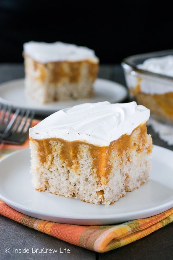 Pumpkin pudding and a spice Cool Whip add a cool and creamy touch to this fall cake.