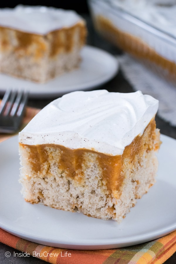Fall spices and pumpkin pudding make this easy cake a great fall addition to parties.