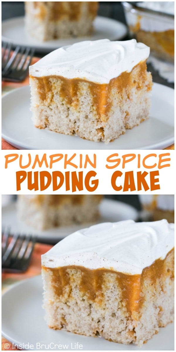 Pumpkin pudding and fall spices make this an easy cake to serve for any fall party.